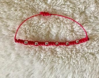 Pink beaded stack bracelet