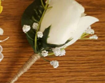 White Rose Boutonniere, White Wedding Flowers, Groomsman Boutonniere, Spring Wedding, Prom Boutonniere, White Rose Bout