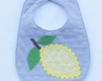 SALE! Lemon Applique Bib - baby bib, drool bib, teething bib, toddler bib