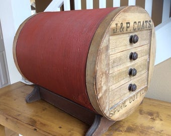 Antique J & P Coats large red spool of thread-shaped spool chest store fixture
