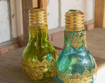 Lightbulb vase, wedding decor, bohemian jar,  painted vase, henna painted glass vase, table decor,  cylinder vase, morrocan jar.