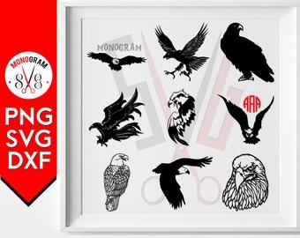 Eagle Svg Silhouette Eagle Monogram Cameo Decal cut files cricut silhouette studio cutting file vector designs vinyl cutter Dxf Png Clip art