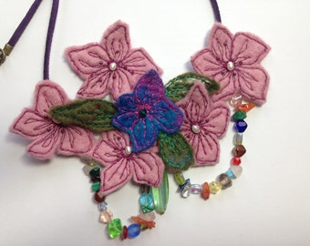 Hand felted merino wool and freshwater pearl floral bib necklace