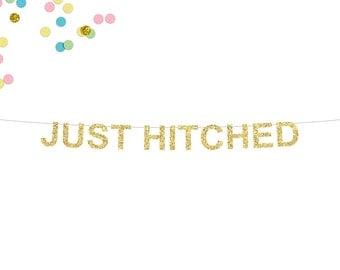Just Hitched Glitter Banner | Wedding Banner | Wedding Reception Banner | Just Married Banner | Bride and Groom | Wedding Reception Decor