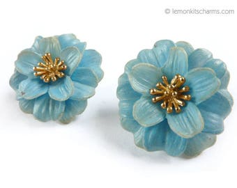 Vintage Trifari Blue Floral Earrings, Jewelry 1950s Mid-century, Flower, Plastic Goldtone, Clip On Style, Summer, Classic