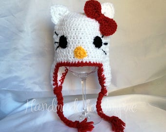 Hello Kitty Baby Hat, Hello Kitty Crochet Beanie, Crochet Baby Hat,Hrllo Kitty, Baby Shower gifts