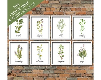 Custom Set of 8 Watercolor Herb Printables Kitchen Decor Botanical Herb Printable Art Kitchen Herb Prints Set Herb Kitchen Prints Herb Decor
