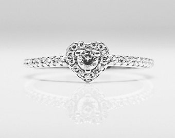 Heart Ring, Silver Heart Ring, Promise Ring for Her,  Promise Ring, Heart Cubic Zirconia Ring, Engagement Ring, Silver Rings, Gemstone Ring.