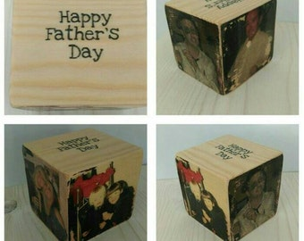 Personalised photo cube, photo block, personalised wooden block, home decor, rustic decor, gift for him, gift for her, home gift, keepsake