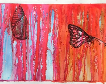 Life Begins - pen and ink original drawing of a Monarch Butterfly on watercolour paper