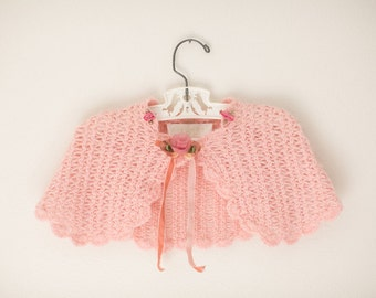 Knitted Toddler Shawl-Pink Girls Shawl-Baby Shawl-Pink Baby Shawl-Knitted Baby Sweater