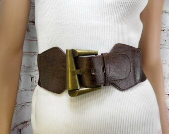 cinch belt - waist belt - brown belt - stretch belt - elastic belt -wide belt -adjustable belt - stylish belt - waist S-M  # B 66