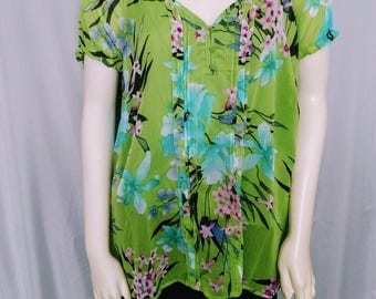 30% OFF Plus Size Floral Blouse/Green 1X Floral Top/ Short Sleeves Summer Blouse/Rufflet Sleeves Top/ Pleated Blouse/Spring Colors Top/297