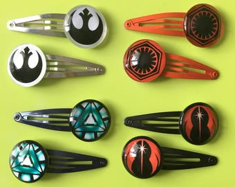 Special Offer set of Star Wars hair clips slides 4 pairs the rebellion set Geeky cool hair accessories Birthday wedding favours  party gifts