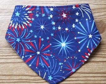 Heavy Drooler Bib Fourth of July Fireworks Drool Bib Indepence Day Drooling Bib Patriotic Outfit Drooler Bib Teething Bib Dribble Bib