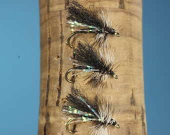 """3-pack """"CJ's Little Black Caddis"""" flies, fly fishing flies, hand tied flies, Trout flies, Caddis flies, dry flies"""