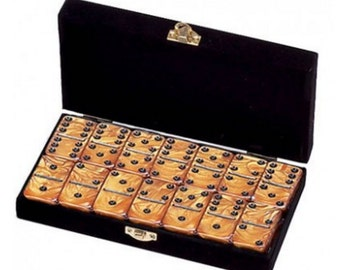 Double 6 Gold Engraved Dominoes in Velvet Box