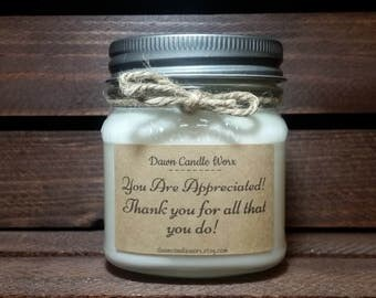 8oz Thank You Candles - Soy Candles Handmade - You Are Appreciated - Candle Favors - Best Boss Candles - Secretary Gifts - Mason Jar Candles