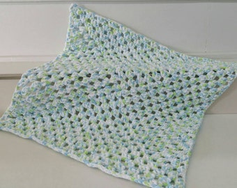 Blue, Green, and White Granny Square Crocheted Baby Blanket