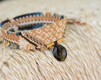 Handmade tribal choker Macrame Necklace with Apache Tears , nativeamerican style, wild jewelry, spiritual, tribaljewelry, ethnic