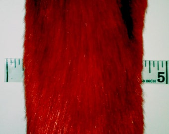 Fluffy Plush Red Faux Fur Kitten Tail with Metal or Pink Silicone Plug Butt Anal Plug Fetish Cosplay Petplay Furry Animal