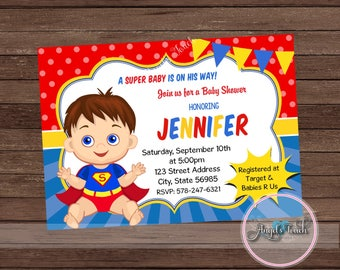 Superhero Baby Shower Invitation, Superman Baby Shower Invitation,  Superheroes Baby Shower, Superman Baby