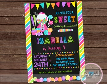 Candyland Party Invitation, Candy Land Birthday Invitation Chalk, Candyland Chalk Birthday Party Invitation, Candyland Invitation, Digital