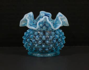 Dazzling Fenton Art Glass Blue Opalescent Hobnail Small Ruffled Bud Vase