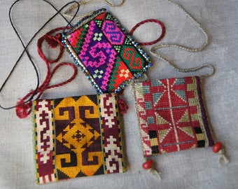 Three Handmade Cross Stitch Small Purses Vintage Afghanistan