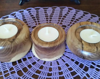 Olive wood tealight  holders