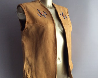1970s Native American Leather gilet waistcoat with beaded detail