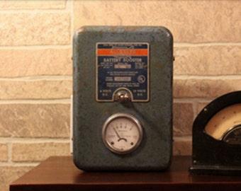 USB Battery Power Charger - Booster - Antique - Vintage - Big Blue Box - Dieselpunk 2 /Deco Punk