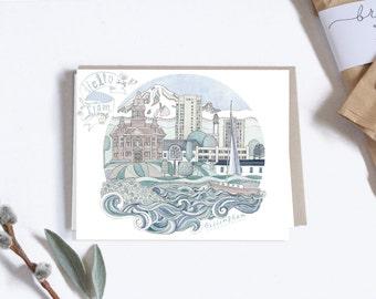 Postcard, City Illustration, Bellingham Washington