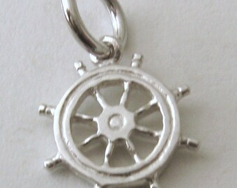 Genuine SOLID 925 STERLING SILVER Ship wheel Helm charm/pendant