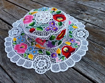 Elegant and unique Sun Hat Embroidered Womens Hat, Kalocsa hat, Hungarian embroidered, richelieu hat, sun hat womens
