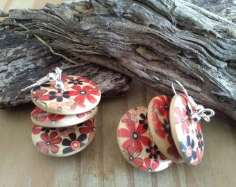 Wooden Button Dangle Earrings