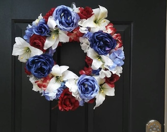 Red white and blue mixed flower wreath