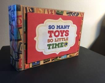 Boy mini album-Toy themed mini album-Boy scrapbook-Nostagic themed scrapbook-Vintage Photo Book-Toys photo book