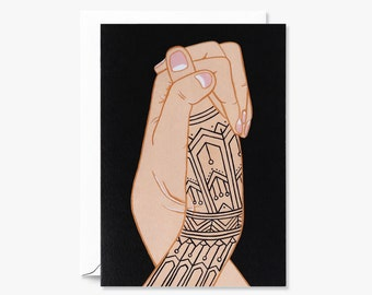 Two Hands Holding Illustrated with Tattoos for Encouragement | Greeting Card