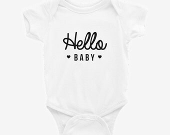 Hello Baby Cute Baby Bodysuit – Makes a Cute Gift for a baby!
