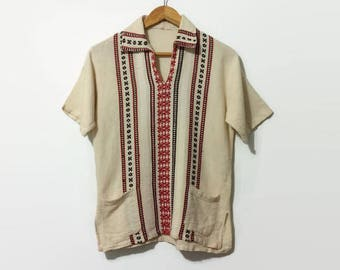 1960s Hippie Linen Woven Embroidered Cotton Shirt with Pockets S/M