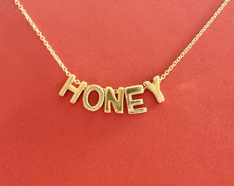 Gold Vermeil HONEY on a Gold Filled Chain