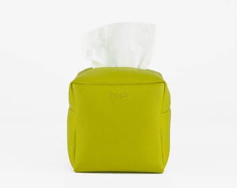 Square Tissue Box Cover, Facial Tissue Holder, Soft Touch, Greenery