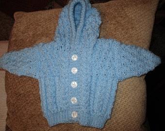 Baby Aran Hooded Jacket (Blue)