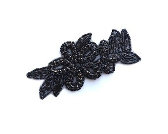 Black Flower Rhinestone Beaded Iron-on Sew-on Applique