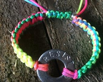 RESIST rainbow macrame adjustable bracelet