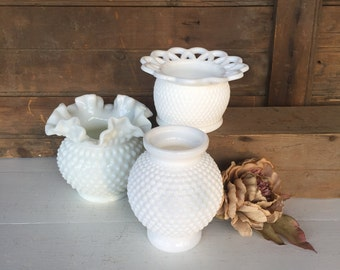 3 Vintage Milk Glass Vases, Hobnail Vases, Compotes, Planters, Centerpiece, White, Wedding Decor, Cottage Chic, Rustic, Farmhouse Decor