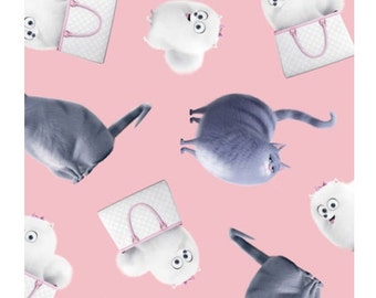 """The Secret Life of Pets Fabric - The Secret Life of Pets Chloe & Gidget Toss Pink 100% cotton 43"""" fabric by the yard, G310"""