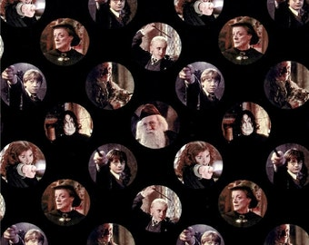 Camelot Fabrics - Harry Potter Fabric - Camelot Harry Potter Digital Characters Circles 100% cotton fabric by the yard , K377