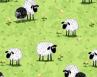 Susybee's Lewe sheep on green grass 100% cotton fabric by the yard, SB32